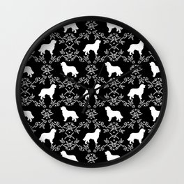 Bernese Mountain Dog florals dog pattern minimal cute gifts for dog lover silhouette black and white Wall Clock