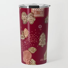 Hansel and Gretel Fairy Tale Gingerbread Pattern Travel Mug