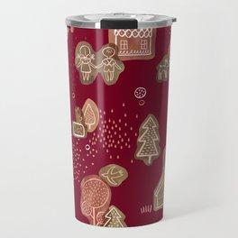 Hansel and Gretel Fairy Tale Gingerbread Pattern Travel Mug