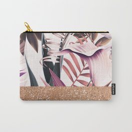 Magenta floral rose gold Carry-All Pouch