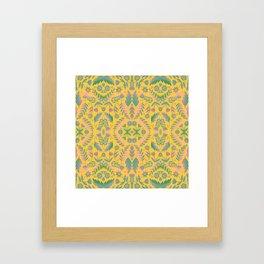 Folk Art Flowers Pattern - Yellow, Green, Purple Framed Art Print