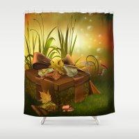 thanksgiving Shower Curtains featuring Thanksgiving Present by FantasyArtDesigns