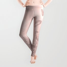 Rose Gold Sparkles on Pretty Blush Pink with Hearts Leggings