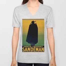 1931 Portugal Port and Sherry Sandeman Aperitif Advertisement Poster Unisex V-Neck