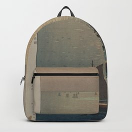 boats on the water woodcut Backpack