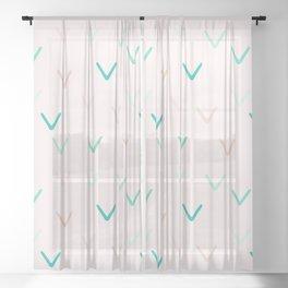 Blush and Mint Minimalism Arrows Sheer Curtain