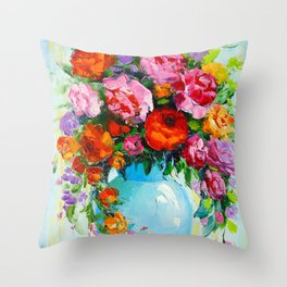 Bouquet of roses in a vase Throw Pillow