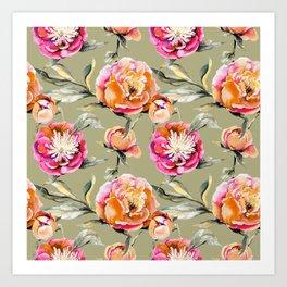 Summery Orange And Pink Peonies Art Print