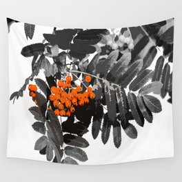 Red Rowan Berries In Black And White Background #decor #society6 Wall Tapestry