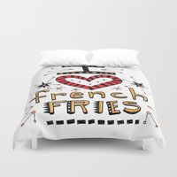 french fries Duvet Covers featuring I Love French Fries by Renee Leigh Stephenson