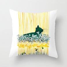 Clover Cat Throw Pillow