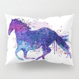 Running Horse Watercolor Silhouette Pillow Sham