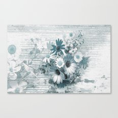 teal flowers on worn wood Canvas Print