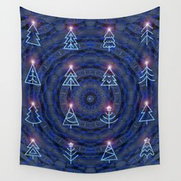 Enchanted Blue Christmas Mandala Wall Tapestry