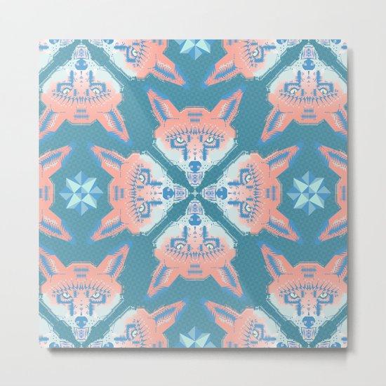 Pastel Fox Pattern Metal Print