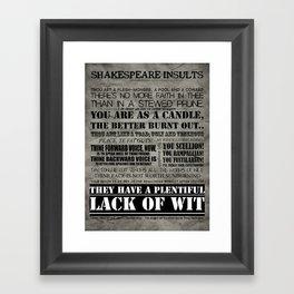 Shakespeare Insults Framed Art Print