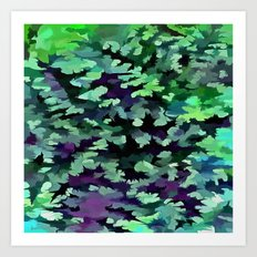 Foliage Abstract Pop Art In Jade Green and Purple Art Print