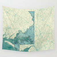 maryland Wall Tapestries featuring Maryland State Map Blue Vintage by City Art Posters