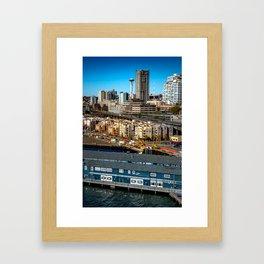 Seattle Space Needle and Aquarium Framed Art Print