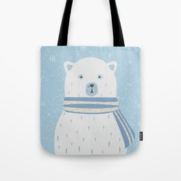 Polar White Bear with Scarf Tote Bag