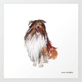 watercolor dog vol1 collie Art Print