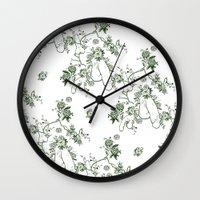 penis Wall Clocks featuring Penis Pattern GREEN by Daniel McLaren