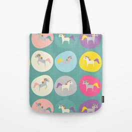 Cute Unicorn polka dots teal pastel colors and linen texture #homedecor #apparel #stationary #kids Tote Bag