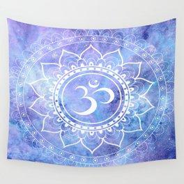 Om Mandala Lavender Periwinkle Blue Galaxy Space Wall Tapestry