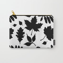 Bold Black Leaves Pattern Carry-All Pouch