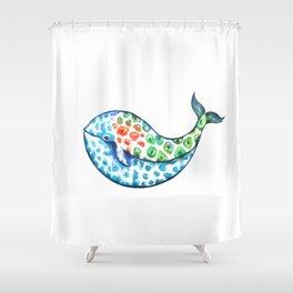 Rainbow whale Shower Curtain