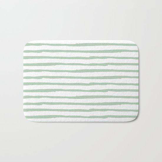 Elegant Stripes White and Pastel Cactus Green Bath Mat