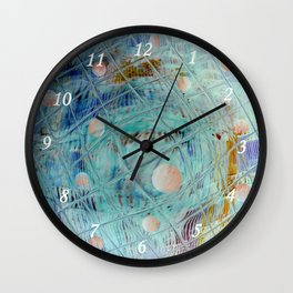 Blue Square and planet Wall Clock