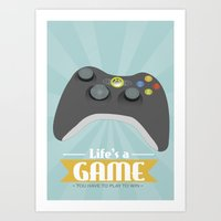 xbox Art Prints featuring Xbox - Life's a game by Teacuppiranha
