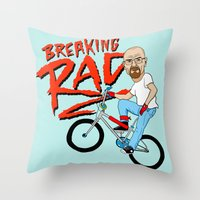 breaking Throw Pillows featuring Breaking Rad by Chris Piascik