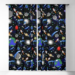 Galaxy Universe - Planets, Stars, Comets, Rockets Blackout Curtain