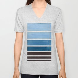 Green Blue Minimalist Watercolor Mid Century Staggered Stripes Rothko Color Block Geometric Art Unisex V-Neck
