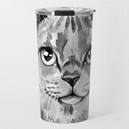 Cat portrait in Black and White Travel Mug