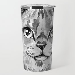 Cat portrait in Black and White Travel Mug