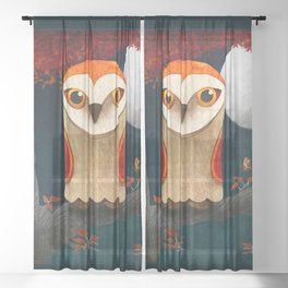Deep in the Night, Owl Eyes Bright Sheer Curtain