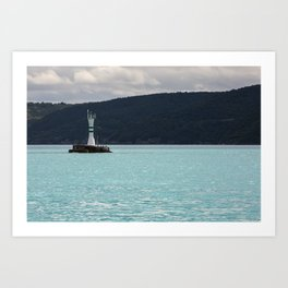 "Travel Photography ""turquoise waters of the Bosphorus, sea strait in Istanbul, Turkey, with light house"" Fine art photo print. Color.  Art Print"
