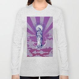 Immaculate Virgin in a Violet Sky digital art Long Sleeve T-shirt