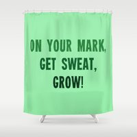 workout Shower Curtains featuring Workout Collection: On Your Mark Grow by Kat Mun