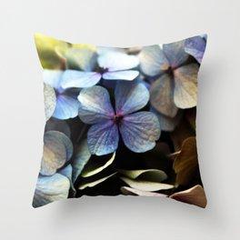 blue hydrangea flower macro Throw Pillow