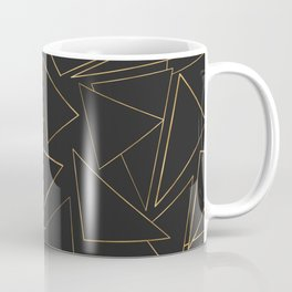 Minimalist Geometric Gold Black Strokes Triangles Coffee Mug