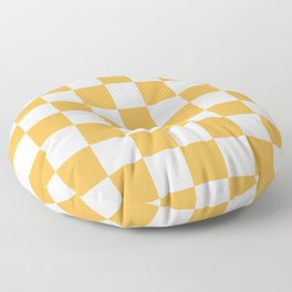 Checkered - White and Pastel Orange Floor Pillow