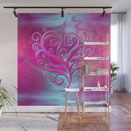 Poetic Heart (hot pink-shell) Wall Mural