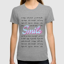 Smile, with positive quotes (light blue and light pink version), black text T-shirt