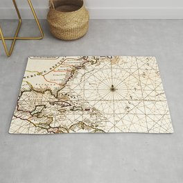 Vintage Atlantic Ocean Map Rug