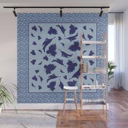 Blue Leaves Larkspur 2 Print Wall Mural