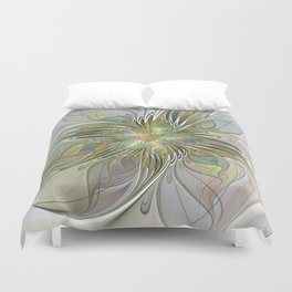 Floral Fantasy, Abstract Fractal Art Duvet Cover